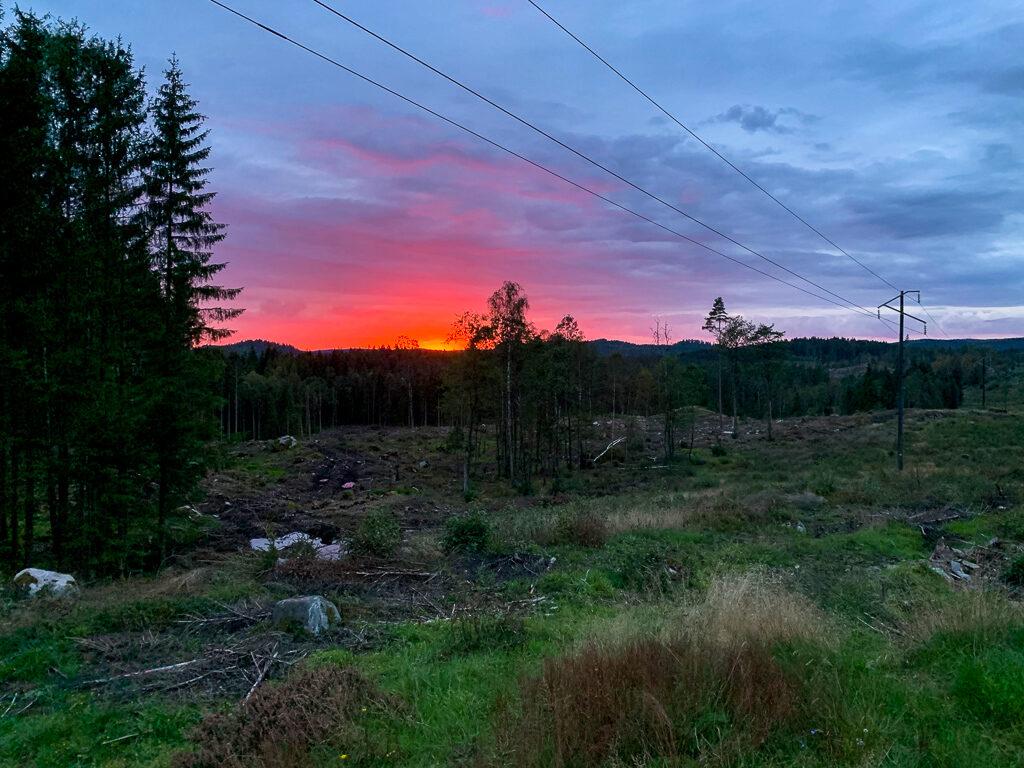 Solnedgång i Ullared en höstkväll