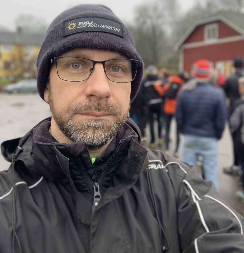 Hans vid nummerlappsutdelningen på Bocksten Trailrun Winter