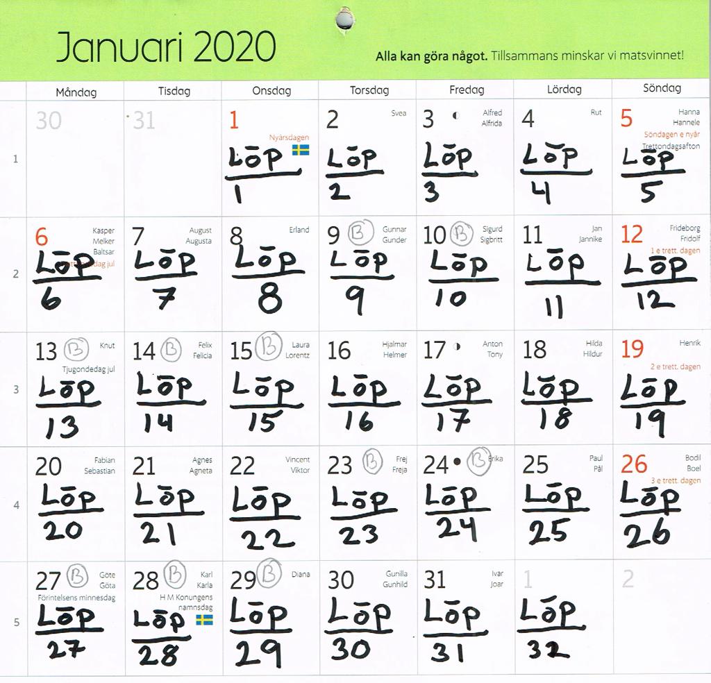 Kalender med löpning i januari