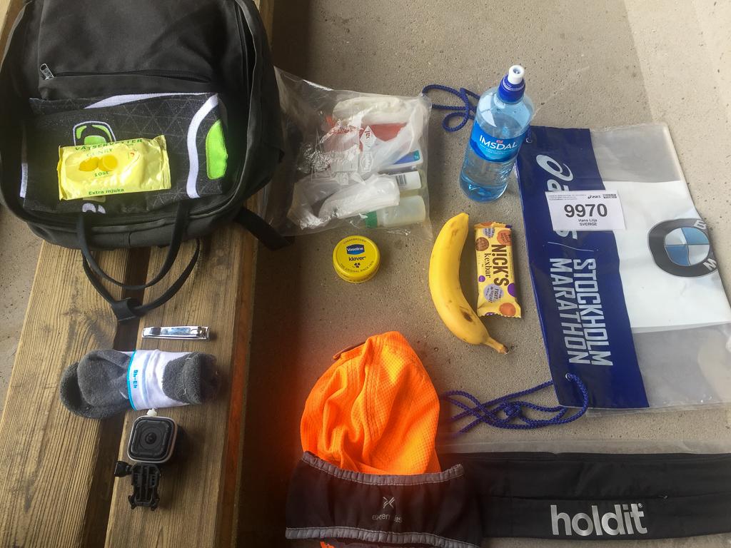 Ryggsäck med förberedelsesaker.